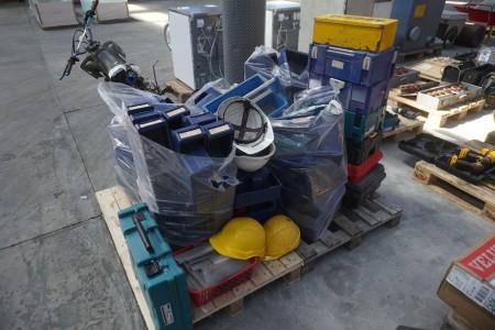 Stort parti sortimentskassser + diverse kasser for elværktøj