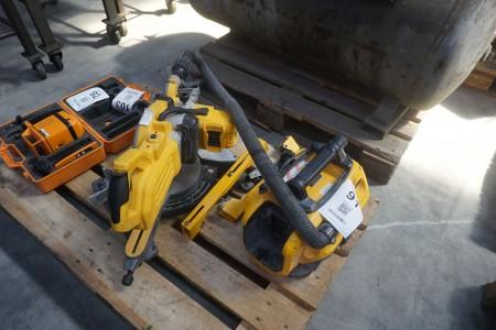 Geringssav + støvsuger, mærke: DEWALT, model: DCS778 & DCV584L
