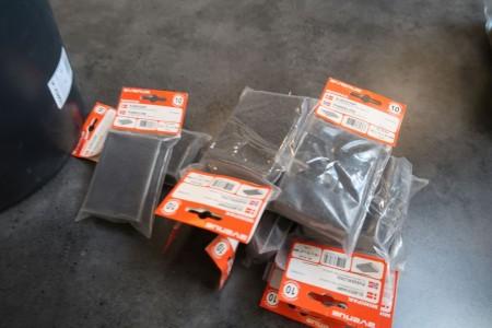 10 stk. slibepuder samt ledningsholder