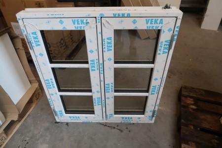 Plastvindue, B88,5xH97 cm, karmbredde 11,5 cm, hvid/hvid