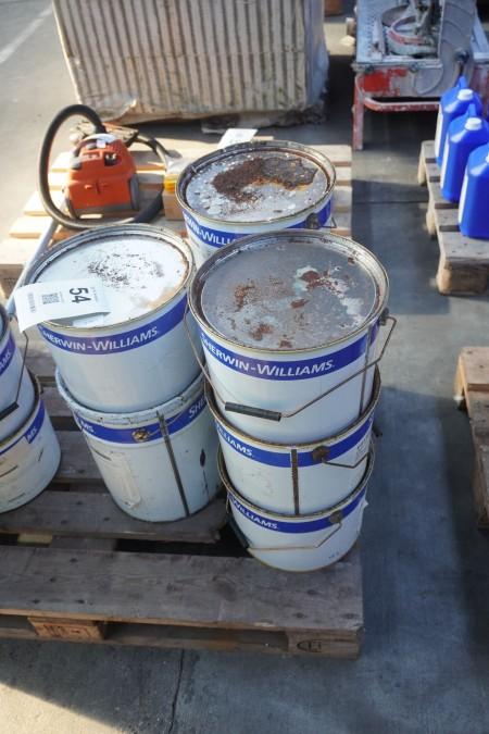 90 liter maling til diverse elementer, skabe mm.