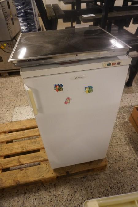 1 stk. køleskab, mærke: Atlas + kogeplade, mærke: Simens