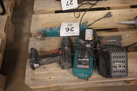 2 stk. boremaskiner, Mærke: Makita & Würth